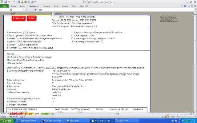 Sheet SPP (Surat Permintaan Pembayaran)